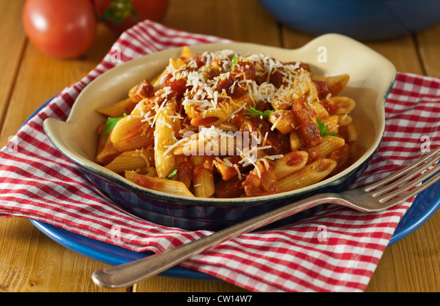 Penne all'Amatriciana Italian Food - Stock Image