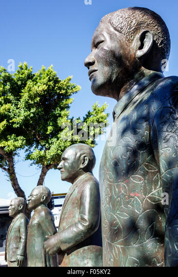 Cape Town South Africa African V & A Victoria Alfred Waterfront Nobel Square prize winners Albert Luthuli Desmond - Stock Image