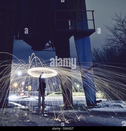 Steel Wool Spinning - Stock Image