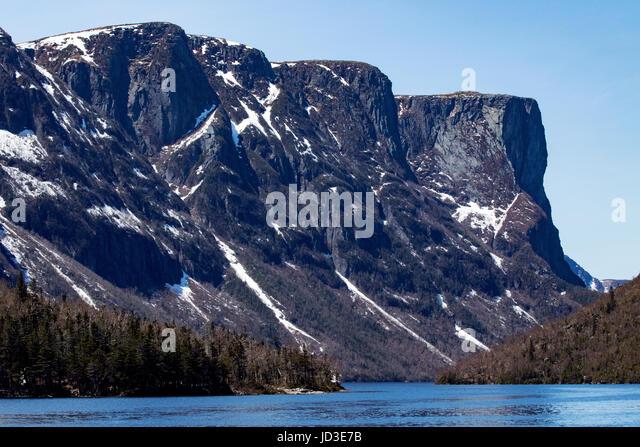 Western Brook Pond Landscape, Gros Morne National Park, Newfoundland, Canada - Stock Image