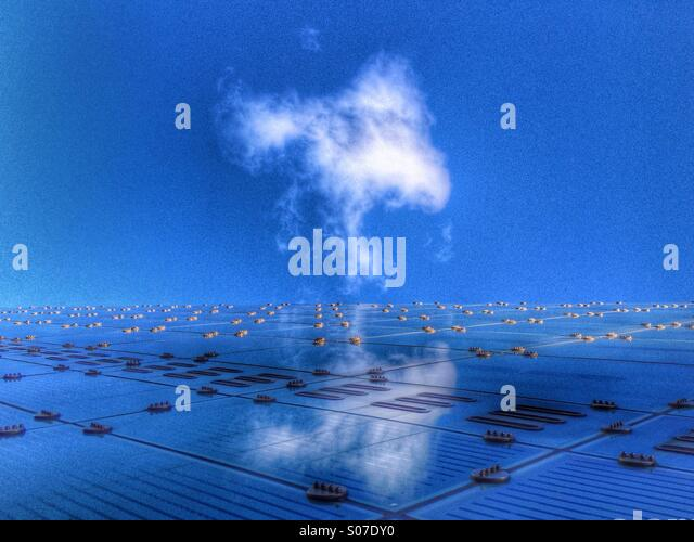 Abstract of cloud and Urbis building in Manchester - Stock Image