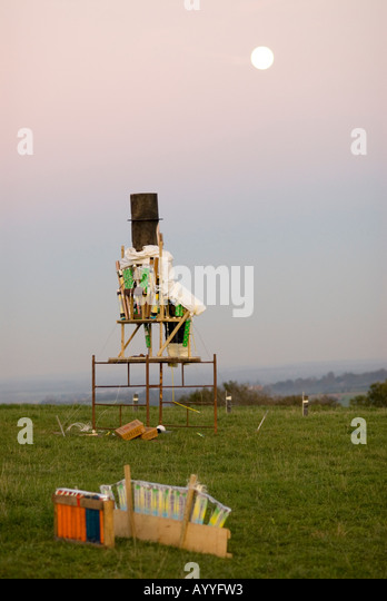 Guy Fawkes in a field ready for a firework display - Stock Image