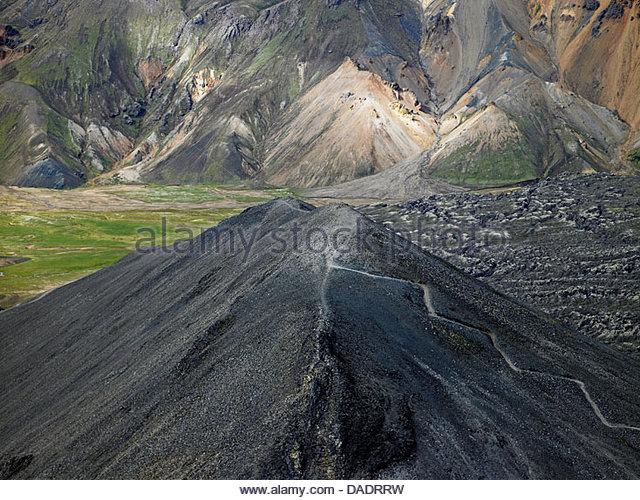 Elevated view of Blafjoll mountain, Landmannalaugar, Iceland - Stock Image