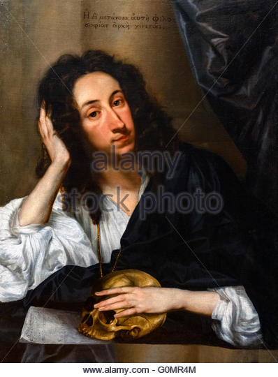 John Evelyn (1620-1706), the 17thC English diarist, ,portrait by Robert Walker, 1648, oil on canvas. - Stock Image