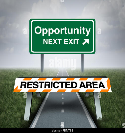 Restricted opportunity concept and business road block symbol as a barrier with text barring entrance to a road - Stock-Bilder
