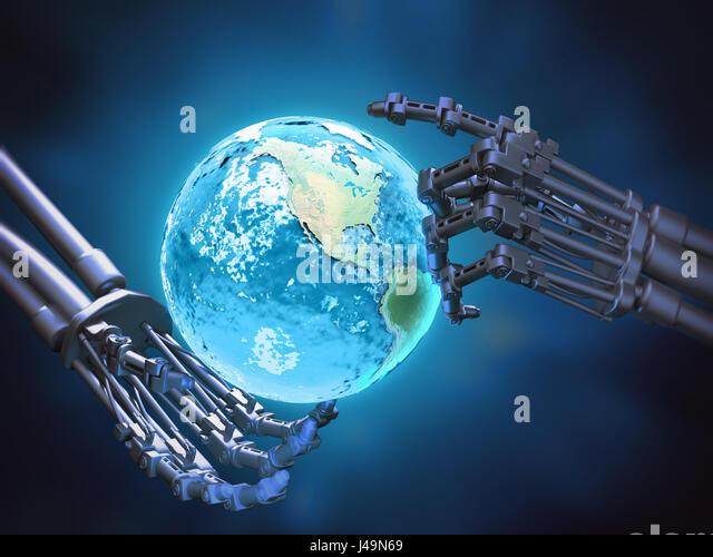 A robot holding a globe- robotics technology concept 3D illustration - Stock-Bilder