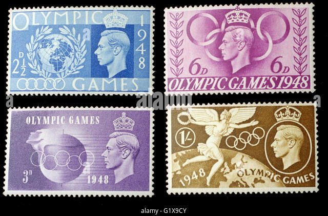Stamps from London Olympics 1948 - Stock Image