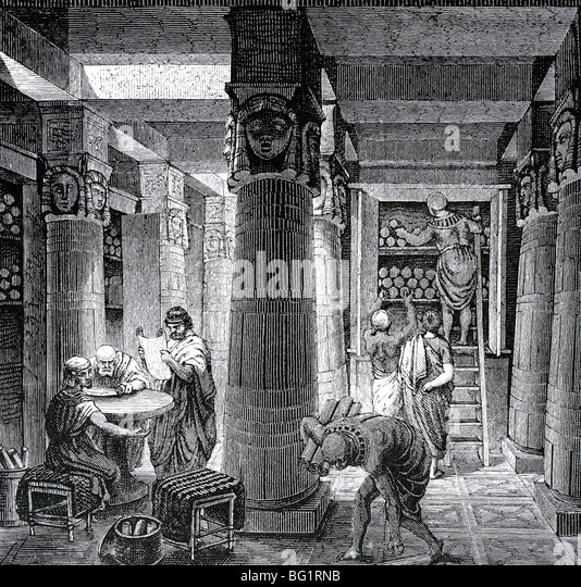 LIBRARY AT ALEXANDRIA as imagined in a 19th century engraving - Stock Image