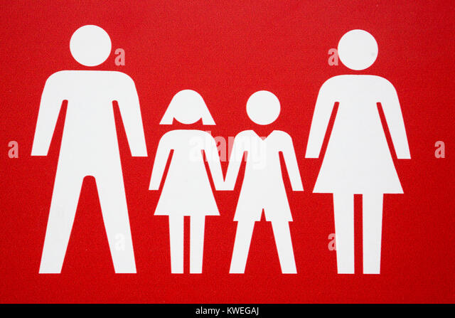 Family pictogram, parents with two children, father, mother, daughter, son, white on a red background - Stock Image
