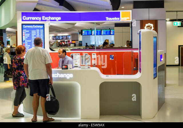 Sydney Australia NSW New South Wales Kingsford-Smith Airport SYD inside interior terminal concourse gate area Currency - Stock Image