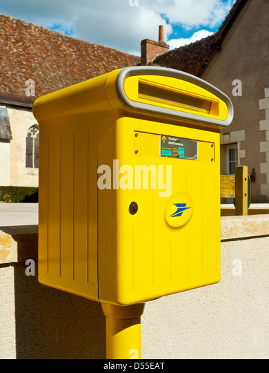 New-style French La Poste post box - France. - Stock Image