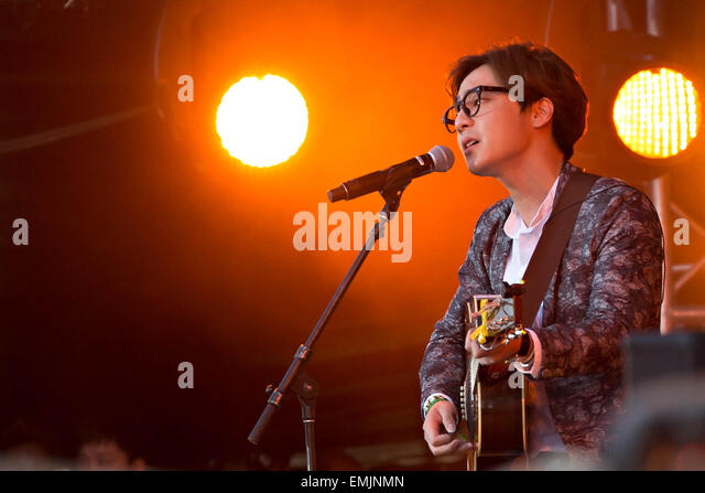 South Korean singer Roy Kim performs during the Global Citizen 2015 Earth Day concert on the National Mall April - Stock Image