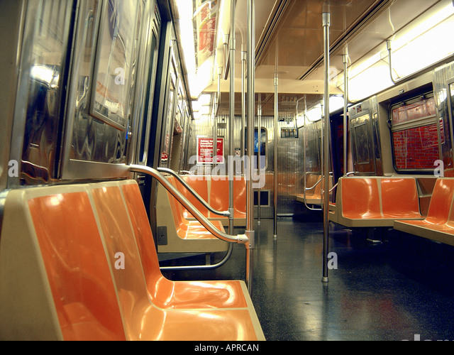 Empty New York City Subway Car - Stock Image