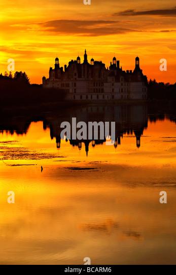 Chambord castle at dusk, Loire, France. - Stock-Bilder
