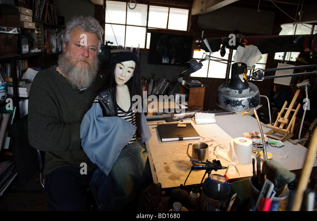 Johnny Wales an illustrator and puppet maker, Sado island Niigata Japan, April 5th 2009. - Stock Image
