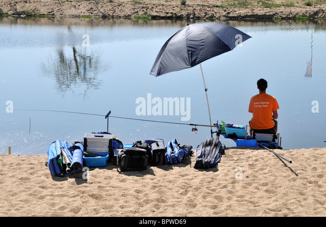 Dutch angler, 12th European Championships in freshwater angling, Sorraia river, Coruche, Portugal, September 2010 - Stock Image
