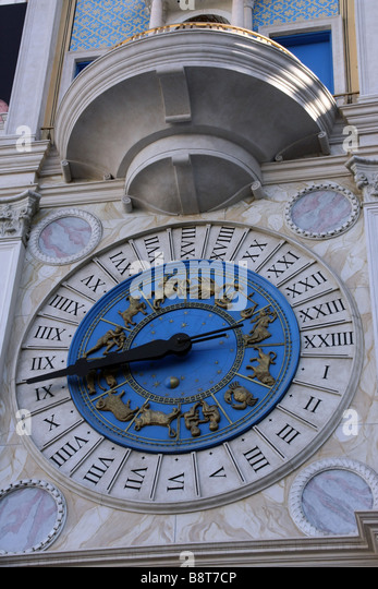 Clock outside the Venetian Resort Hotel on Las Vegas, similar to the one in St Mark's Square - Stock Image