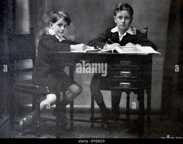 Bruno and Vittorio Mussolini, the sons of Benito Mussolini - Stock Image