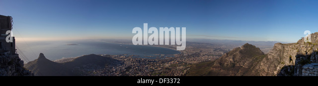 A Panorama of Lion's Head and the City of Cape Town From Table Mountain - Stock Image