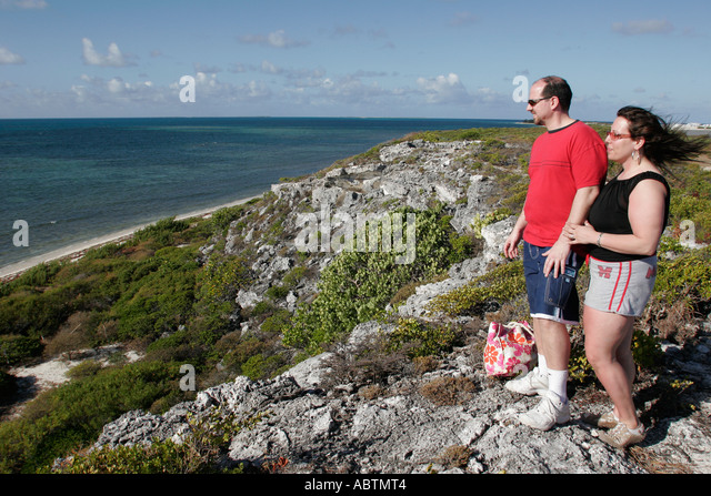Grand Turk Atlantic Ocean Hawknest Plantation Gun Hill dune buggy excursion tour couple - Stock Image
