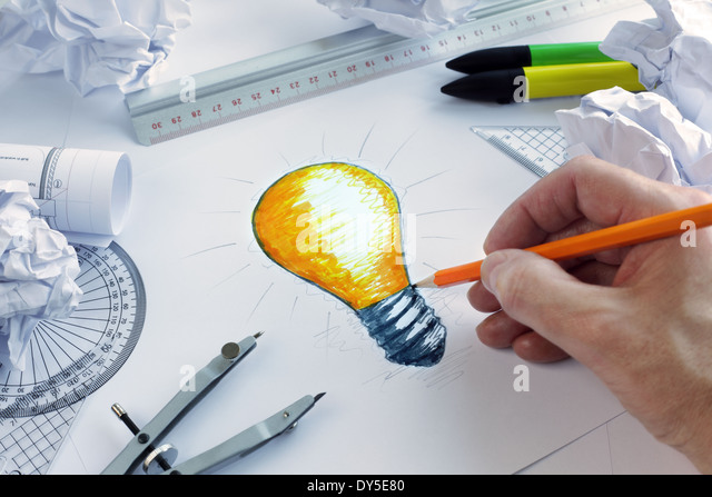 Having a bright idea - Stock Image