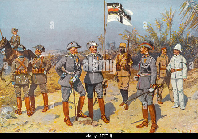 uniforms of Imperial German colonial soldiers in East Africa,1894, - Stock Image