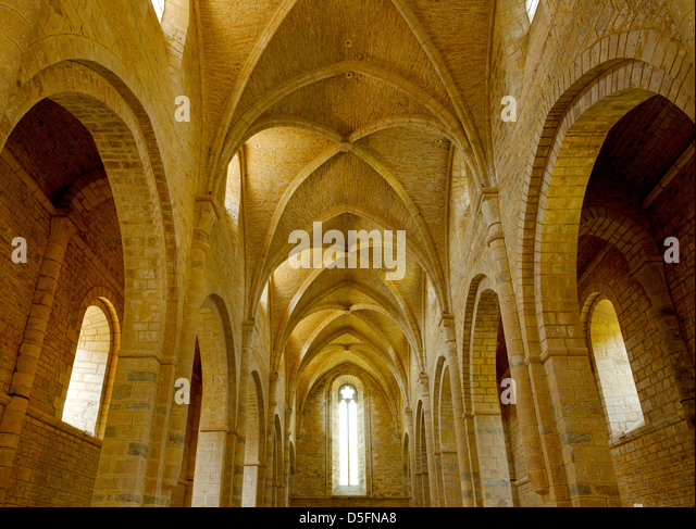 Interior of the 12th century church at Loc Dieu Abbey, Aveyron, France - Stock Image