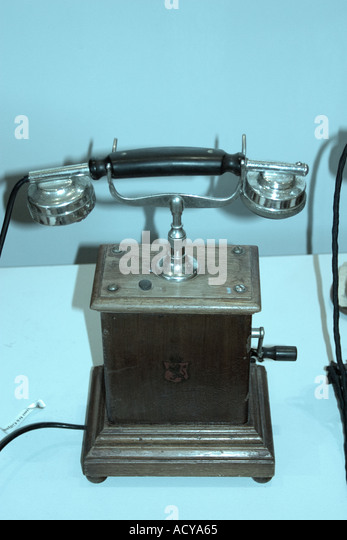 Iceland Skogar museum old phone  - Stock Image