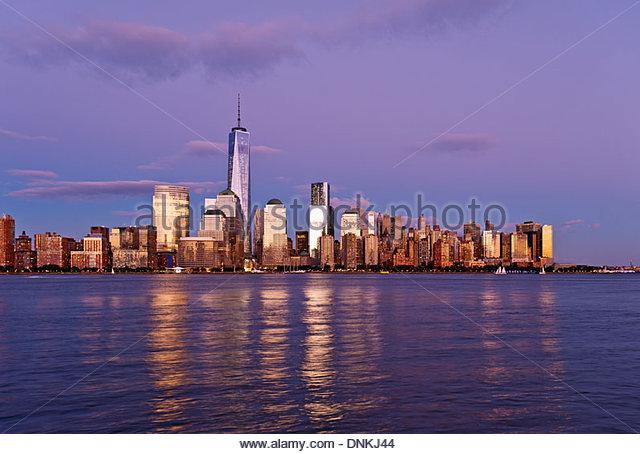 New York skyline, One World Trade Center, Freedom Tower, New York City skyline dusk Manhattan skyline. - Stock Image
