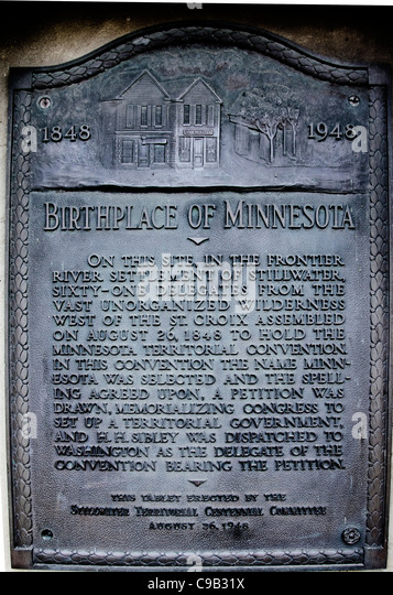 Plaque commemorating the town of Stillwater as the oldest town (1848) in Minnesota. - Stock-Bilder
