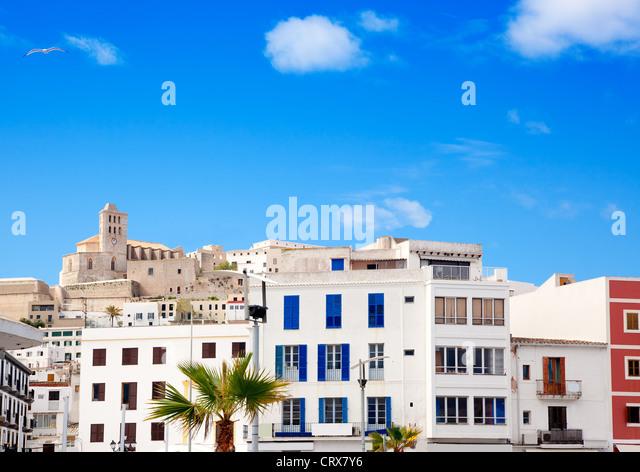 Eivissa Ibiza town with church under summer blue sky - Stock-Bilder