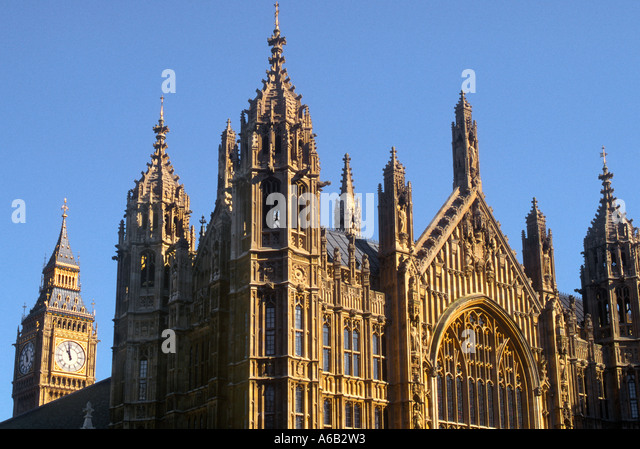 Europe England United Kingdom Great Britain London Westminster Abbey and Big Ben Skyline - Stock Image