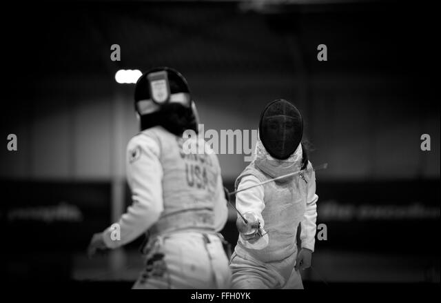 Air Force Academy cadet Madeleine Girardot battles Ambika Singh, from Princeton University, during the 2014 NCAA - Stock Image