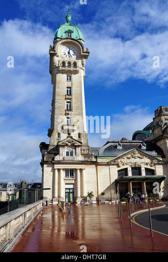 Clock tower of Benedictins train station, city of Limoges, Limousin, France - Stock Image