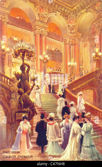 Postcard of the main staircase of the Opera House, Paris - Stock Image