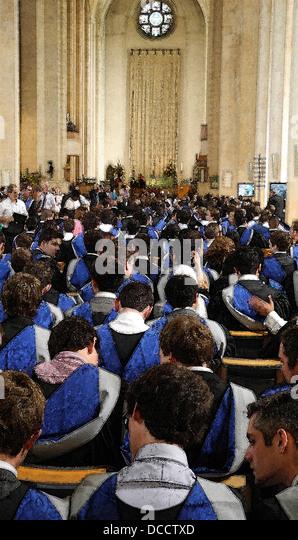ILLUSTRATION of graduation ceremony at a university - Stock Image