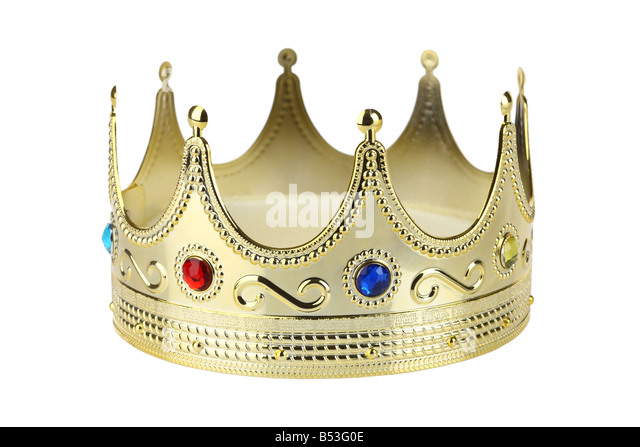Golden crown cutout isolated on white background - Stock Image