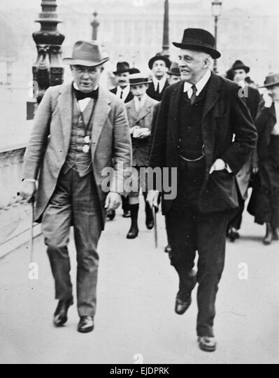 Lloyd George and Arthur James Balfour, Prime Ministers of United Kingdom - Stock Image