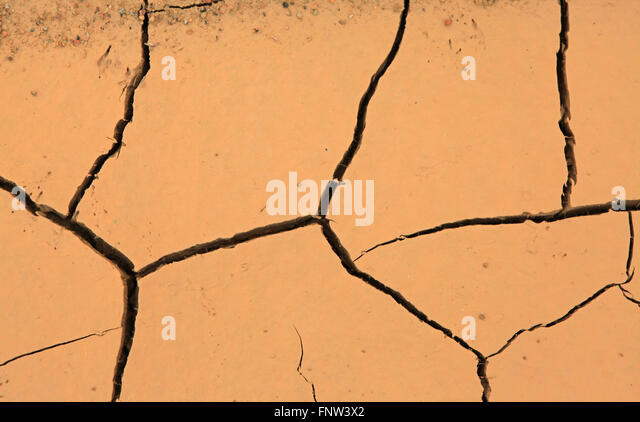 Drought, detail of ground dried and cracked mud, climate change, natural disaster and catastrophe - Stock Image
