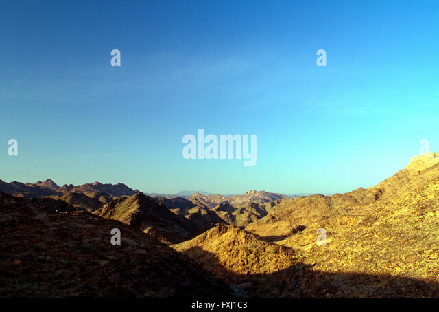 Desert landscape near Bishah; Kingdom of Saudi Arabia - Stock Image