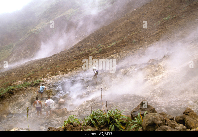 Dominica West Indies Caribbean Valley of Desolation Hike Hiking - Stock Image