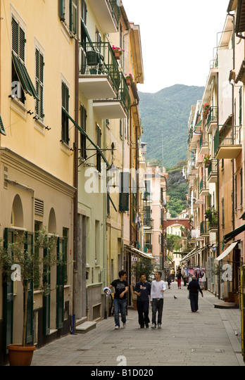 Moneglia Via Vittorio Emanuele - Stock Image
