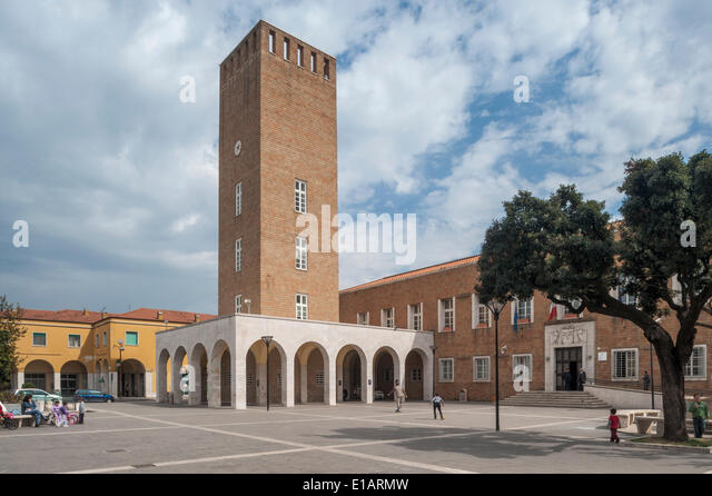 Town Hall with the town tower, monumental architecture, Italian Rationalism, Pomezia, Lazio, Italy - Stock Image