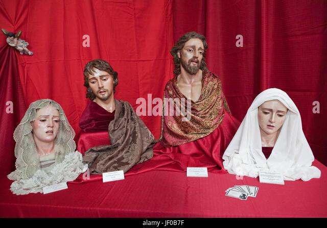 Exhibitor's religious figures Catholic Holy week in Spain - Stock-Bilder