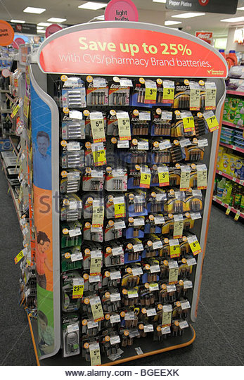 South Carolina Charleston CVS Pharmacy drug store chain business display packaging batteries AAA triple A AA double - Stock Image