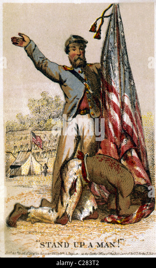 Stand up a man! Freed Afro-American slave humbling himself before American flag held by Union soldier. - Stock-Bilder