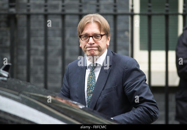 Member of European Parliament and leader of  ALDE Liberal group Guy Verhofstadt  at Downing Street for talks with - Stock Image