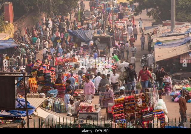 street, Delhi, Asia, town, city, market, person, many, - Stock Image