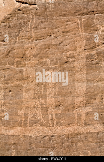 Hans Winkler's famous recorded Rock-Art site 26 in Wadi Abu Wasil in the Eastern Desert of Egypt. - Stock Image
