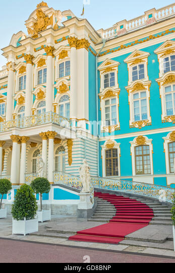 An Entrance To The Catherine Palace Pushkin St Petersburg Russia - Stock Image